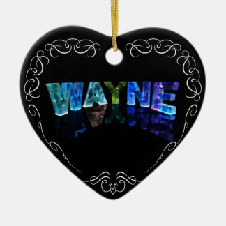 The Name Wayne -  Name in Lights (Photograph) Ceramic Heart Decoration