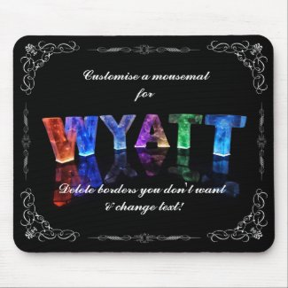 The Name Wyatt - Name in Lights (Photograph) Mouse Mat
