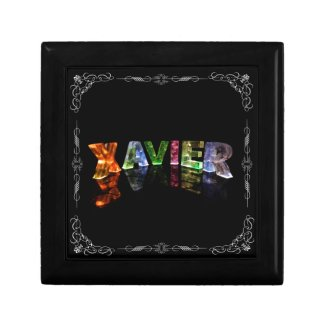 The Name Xavier - Name in Lights (Photograph) Trinket Box