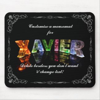 The Name Xavier - Name in Lights (Photograph) Mousepad