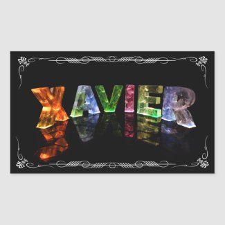 The Name Xavier - Name in Lights (Photograph) Rectangular Stickers
