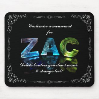 The Name Zac - Name in Lights (Photograph) Mousepad