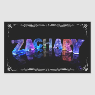 The Name Zachary -  Name in Lights (Photograph) Rectangular Sticker