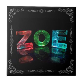 The Name Zoe - Name in Lights (Photograph) Tiles