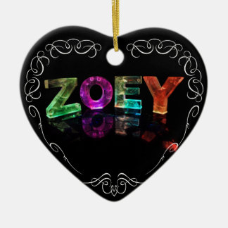 The Name Zoey -  Name in Lights (Photograph) Ceramic Heart Decoration