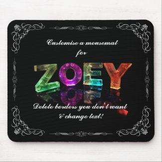 The Name Zoey - Name in Lights (Photograph) Mouse Pad