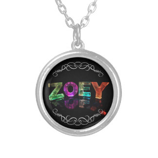 The Name Zoey -  Name in Lights (Photograph) Silver Plated Necklace