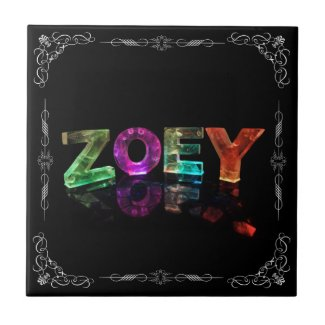 The Name Zoey - Name in Lights (Photograph) Tiles