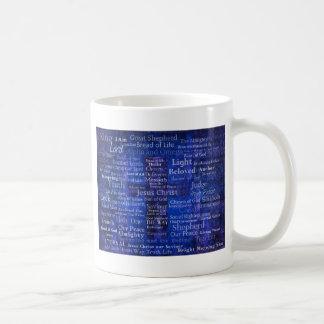 The Names of Jesus Christ blue cross art Basic White Mug