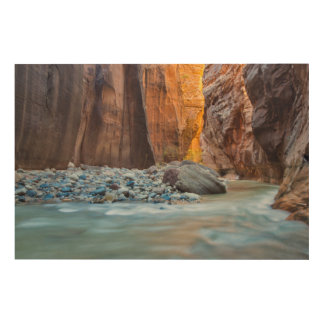 The Narrows Of The Virgin River In Autumn 2 Wood Canvas