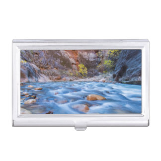 The Narrows Of The Virgin River In Autumn 3 Business Card Holder