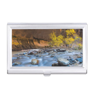 The Narrows Of The Virgin River In Autumn Business Card Holder