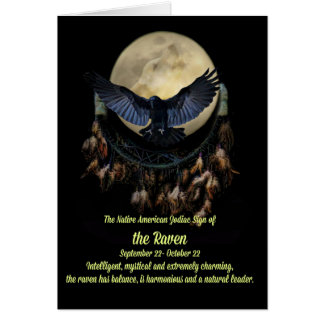 The Native American Zodiac Sign of the Raven Libra Greeting Card