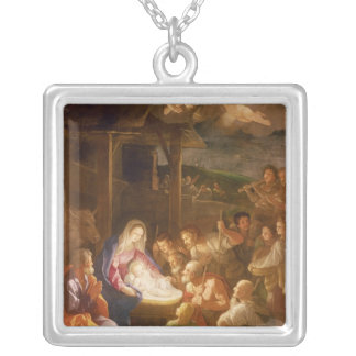 The Nativity at Night, 1640 Silver Plated Necklace