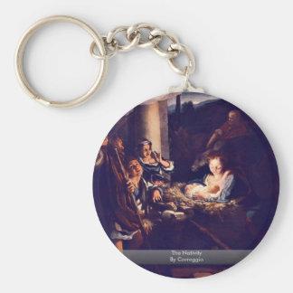 The Nativity By Correggio Basic Round Button Key Ring