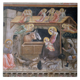 The Nativity, detail from The life of the Virgin a Tile