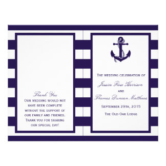 The Nautical Anchor Navy Stripe Wedding Collection 21.5 Cm X 28 Cm Flyer