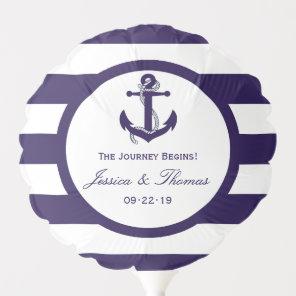 The Nautical Anchor Navy Stripe Wedding Collection Balloon