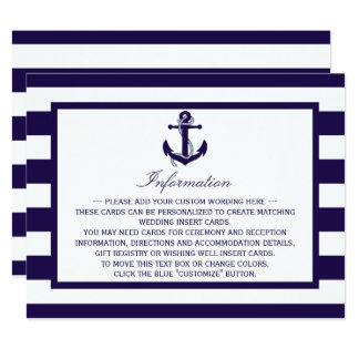 The Nautical Anchor Navy Stripe Wedding Collection Card
