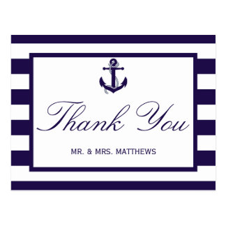 The Nautical Anchor Navy Stripe Wedding Collection Postcard