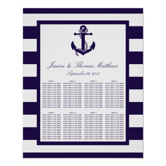 The Nautical Anchor Navy Stripe Wedding Collection Poster