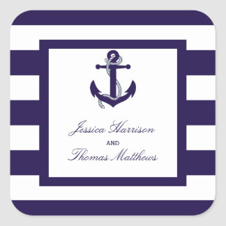 The Nautical Anchor Navy Stripe Wedding Collection Square Sticker