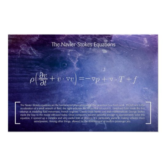 The Navier-Stokes Equations - Math Poster