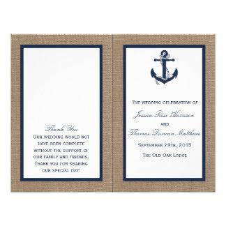 The Navy Anchor On Burlap Beach Wedding Collection Flyer Design