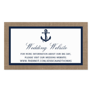 The Navy Anchor On Burlap Beach Wedding Collection Pack Of Standard Business Cards