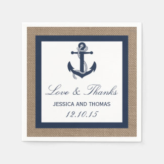 The Navy Anchor On Burlap Beach Wedding Collection Paper Napkin