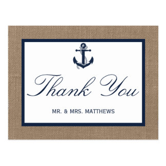The Navy Anchor On Burlap Beach Wedding Collection Postcard