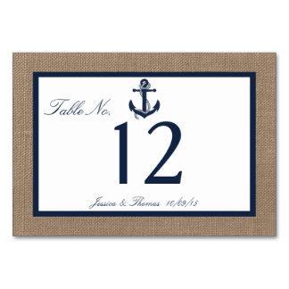 The Navy Anchor On Burlap Beach Wedding Collection Table Cards