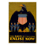 The Navy is Calling - Enlist Now Poster