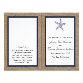 The Navy Starfish Burlap Beach Wedding Collection Flyer