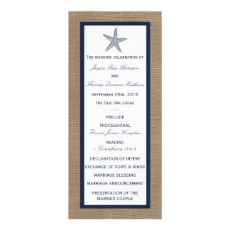 The Navy Starfish Burlap Beach Wedding Collection Rack Card