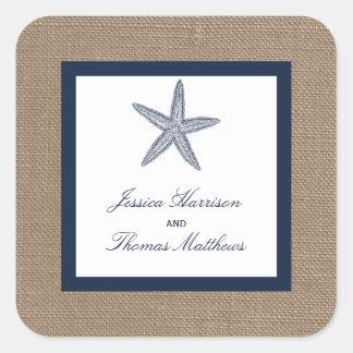 The Navy Starfish Burlap Beach Wedding Collection Square Sticker