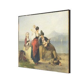 The Neapolitan Family, 1865 (oil on panel) Canvas Print