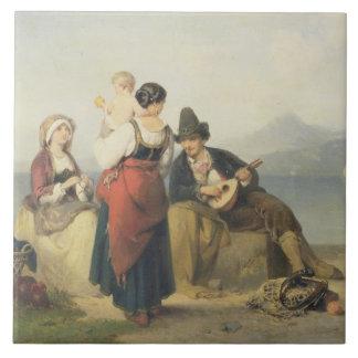 The Neapolitan Family, 1865 (oil on panel) Large Square Tile