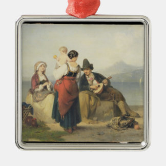 The Neapolitan Family, 1865 (oil on panel) Silver-Colored Square Decoration