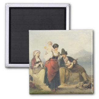 The Neapolitan Family, 1865 (oil on panel) Square Magnet