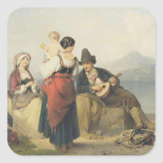 The Neapolitan Family, 1865 (oil on panel) Square Stickers