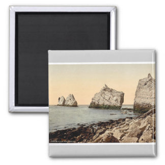 The Needles, I., Isle of Wight, England magnificen Square Magnet