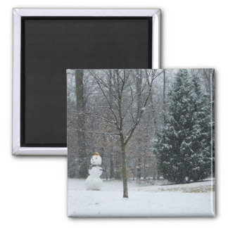The Neighbor's Snowman Winter Snow Photography Square Magnet