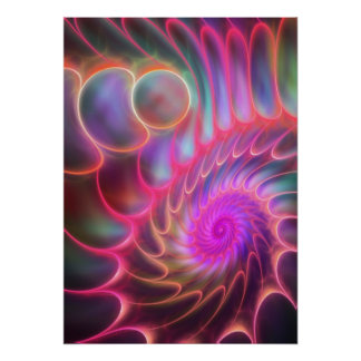 The Neon Spiral artistic fractal Posters