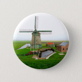 The Netherlands scenic landscape with windmill 6 Cm Round Badge