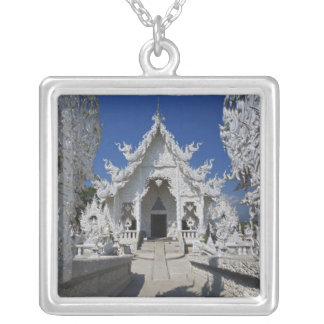 The new all white temple of Wat Rong Khun in Square Pendant Necklace