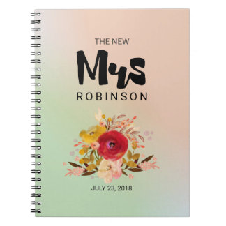 The New Mrs -  Floral Watercolor Bouquet Wedding Spiral Note Books