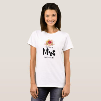 The New Mrs -  Floral Watercolor Bouquet Wedding T-Shirt