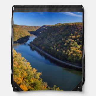 The New River Gorge At Hawks Nest State Park Drawstring Backpack