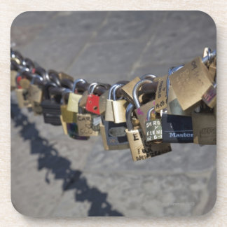 the new tradition of 'locks of love' attached by coaster